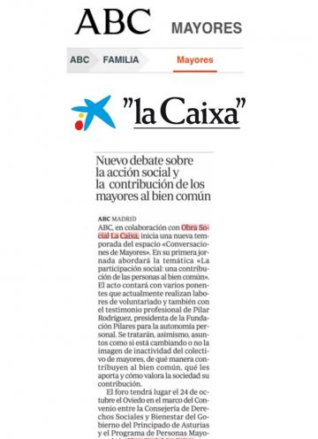 Pilar Rodríguez dará una charla en el espacio Conversaciones de mayores de ABC y Obra Social La Caixa. Oviedo, 24/10/2019