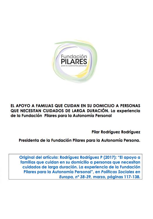 Portada del artículo de Pilar Rodríguez en la Revista Políticas Sociales en Europa, nº 38-39