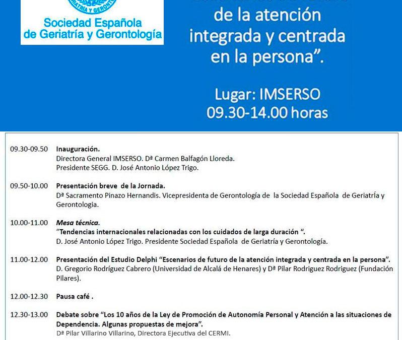 Presentación del Estudio Delphi promovido por la SEGG: 'Escenarios de futuro de la atención integrada y centrada en la persona'.