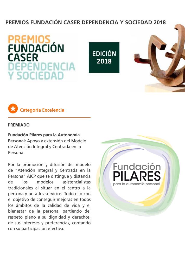 Fundación Pilares, Premio CASER Dependencia y Sociedad en la Categoría Excelencia