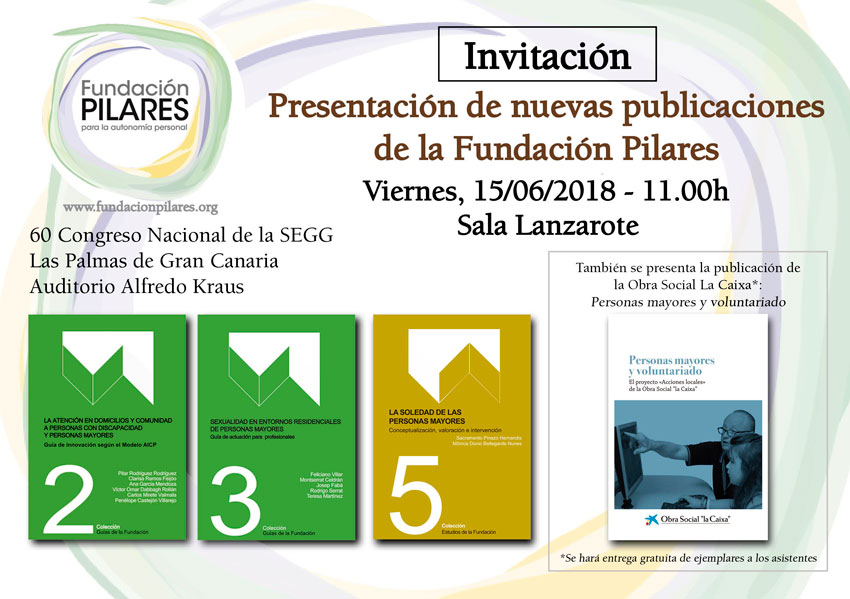 Invitación Presentación Publicaciones Fundación Pilares. Congreso SEGG