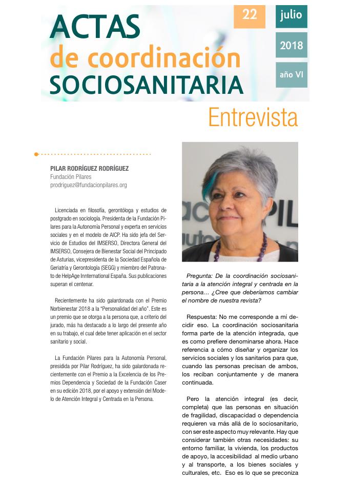 Entrevista a Pilar Rodríguez en la Revista Actas de Coordinación Sociosanitaria, Nº22.