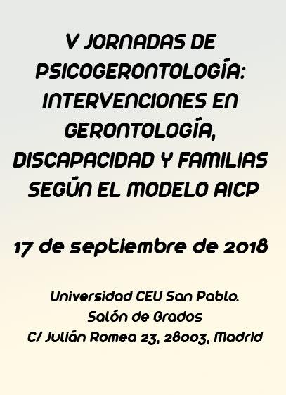 V Jornada de psicogerontología: intervenciones según el modelo Atención Integral y Centrada en la Persona (AICP)