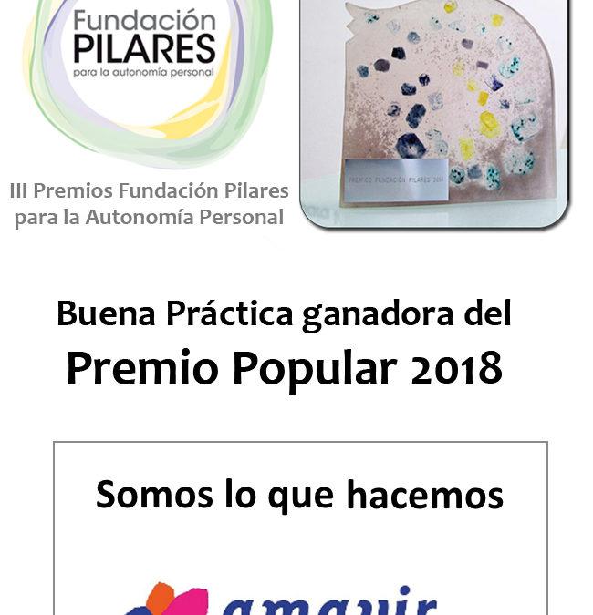 «Somos lo que hacemos», del Grupo Amavir, buena práctica ganadora del Premio Popular de los III Premios Fundación Pilares