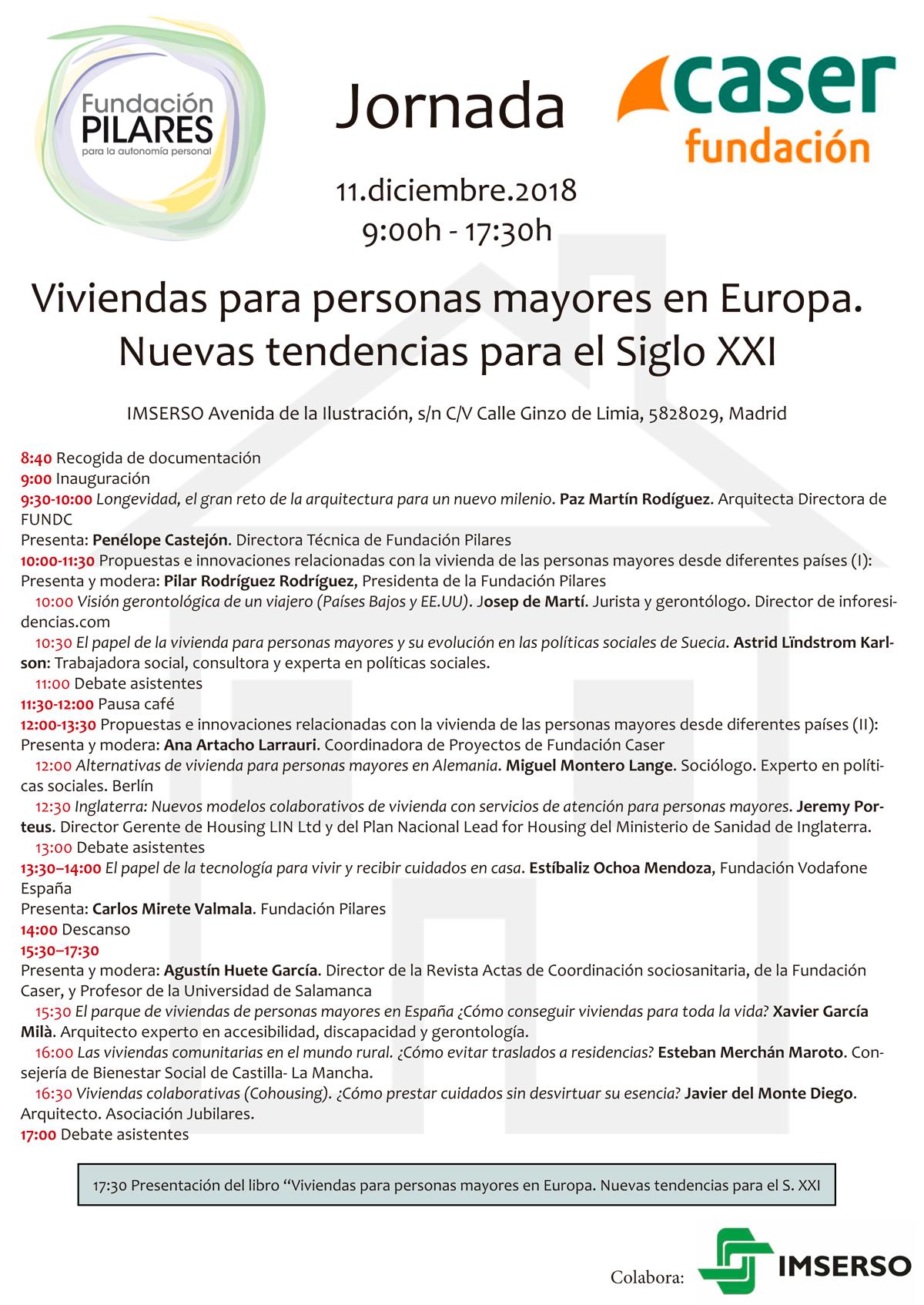 Jornada Viviendas para personas mayores en Europa. Nuevas tendencias para el Siglo XXI