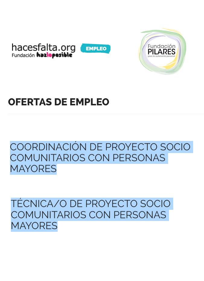 Oferta de empleo: proyecto socio comunitarios con personas mayores. Coordinación y técnico/a