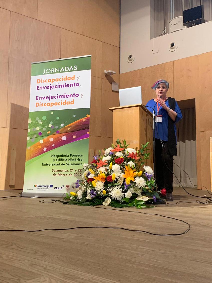 Pilar Rodríguez en la Jornada Discapacidad y Envejecimiento de Salamanca