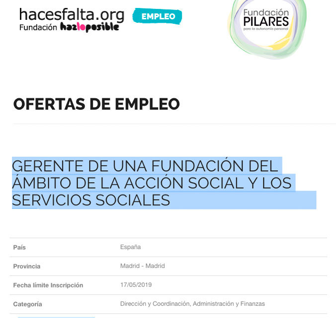 Oferta de empleo: GERENTE en Fundación Pilares