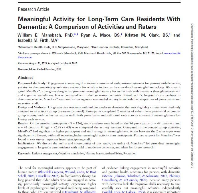 Meaningful Activity for Long-Term Care Residents with Dementia: A Comparison of Activities and Raters