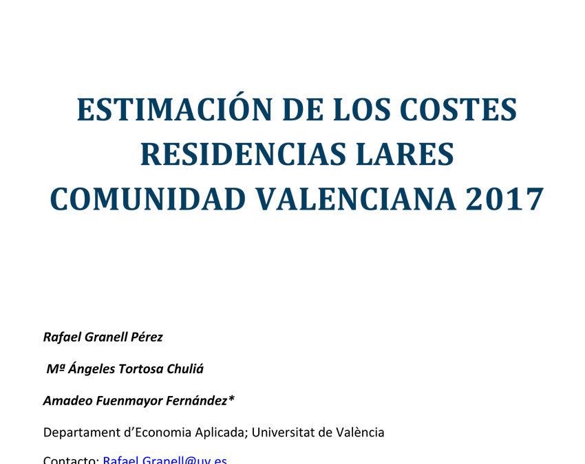 Estimación de los costes residenciales Lares. Comunidad Valenciana, 2017