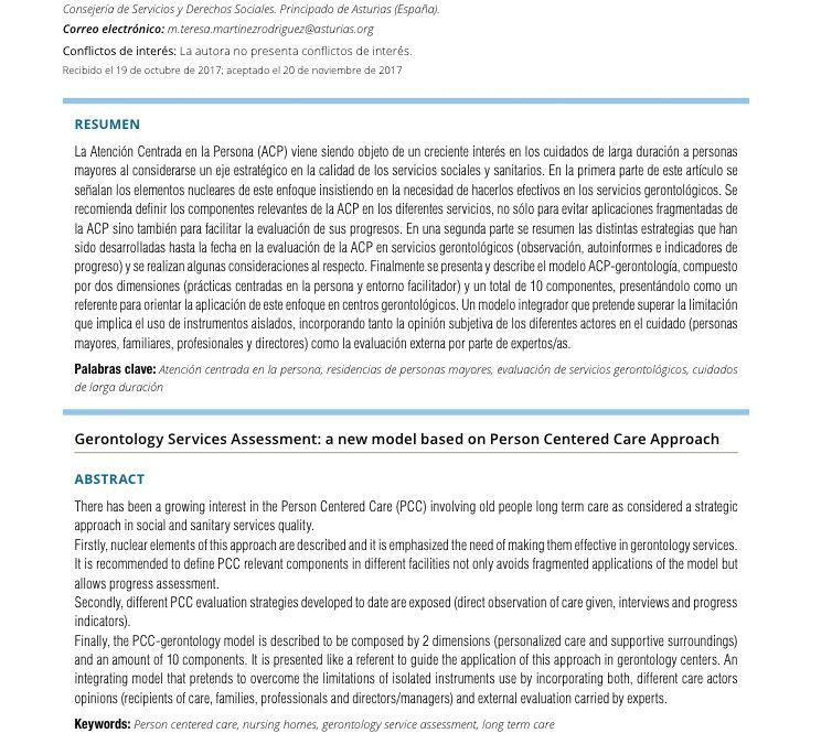 Evaluación de los servicios gerontológicos: un nuevo modelo basado en la Atención Centrada en la Persona