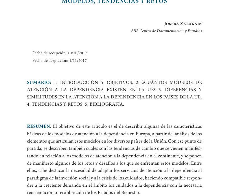 Atención a la dependencia en la UE: modelos, tendencias y retos
